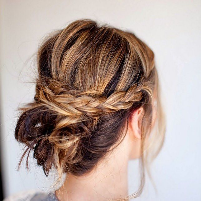 Low Bun with Crown Braid