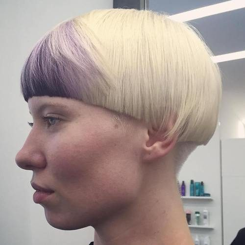 Platinum Haircut with Colored Bangs