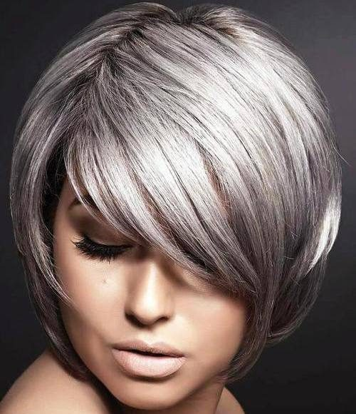 Silver Grey Short Bob for Straight Hair