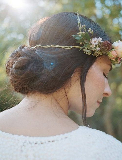 Simple Braided Bun with Floral Crown