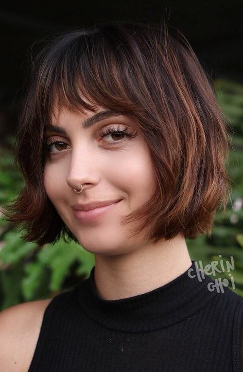 Short Bob and Slightly Side Swept Bangs
