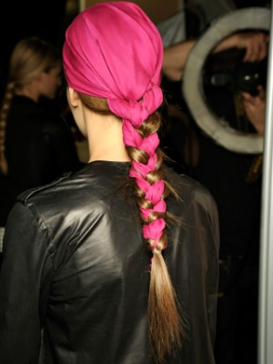 braided hairstyle with scarf