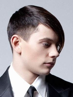 men slicked side bang hairstyle