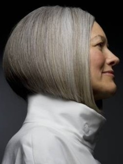 bob hairstyle and gray hair color