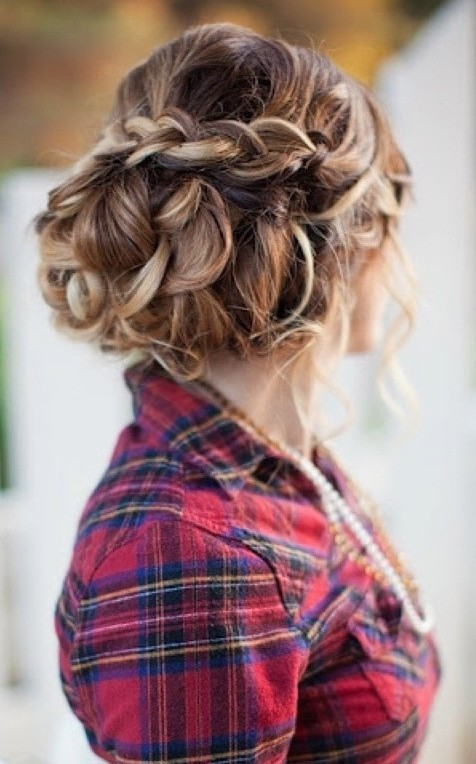 curly braided updo hairstyle 2016