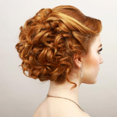 curly updo hairstyle 2022