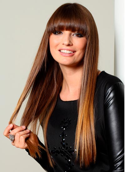 long straight hair with blunt bangs 2022