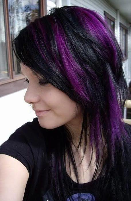purple highlights for black hair 2016