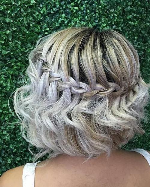 short wavy waterfall braid hairstyle 2016