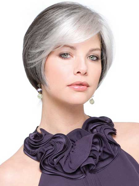 sleek grey bob hairstyle 2022