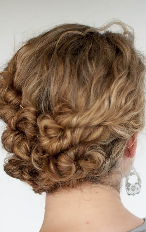twisted updo for curly hair 2016