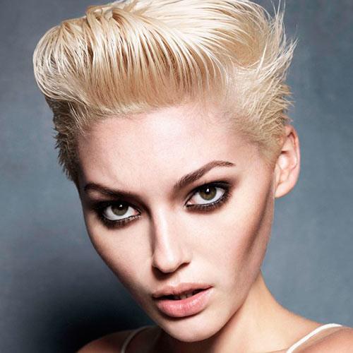 wet-look short blonde pixie 2022