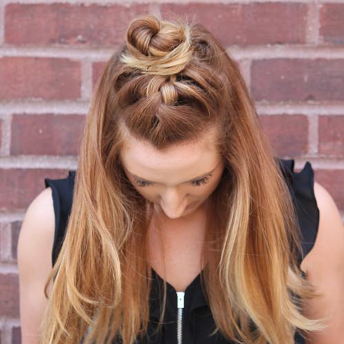 braided half bun hairstyle 2022