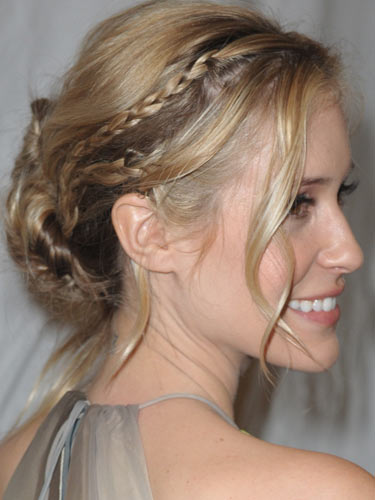 messy braided updo hairstyle 2022