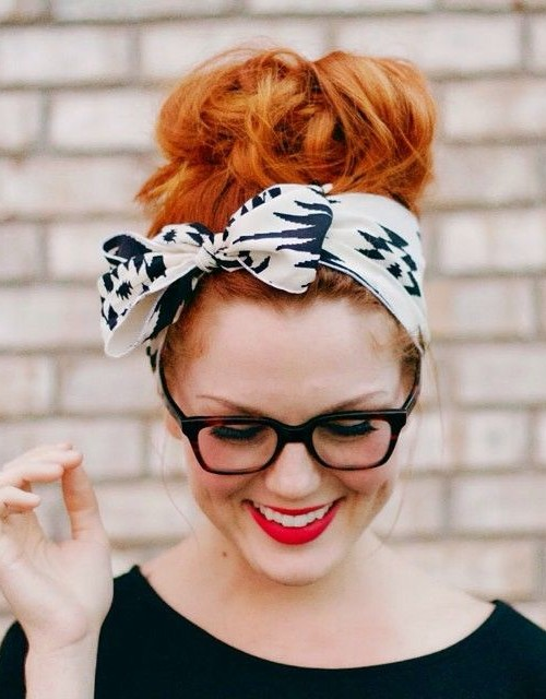 messy scarf updo hairstyle 2022