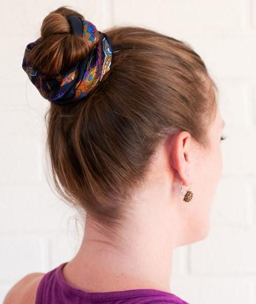 scarf braided bun hairstyle 2022