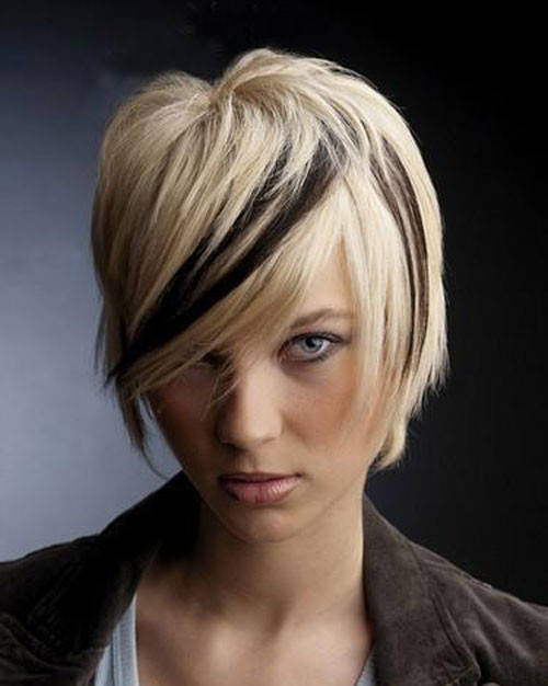 short haircut with bangs two tone hair color 2022