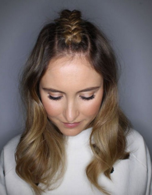 center parted braid on medium lenght hairstyle for 2016