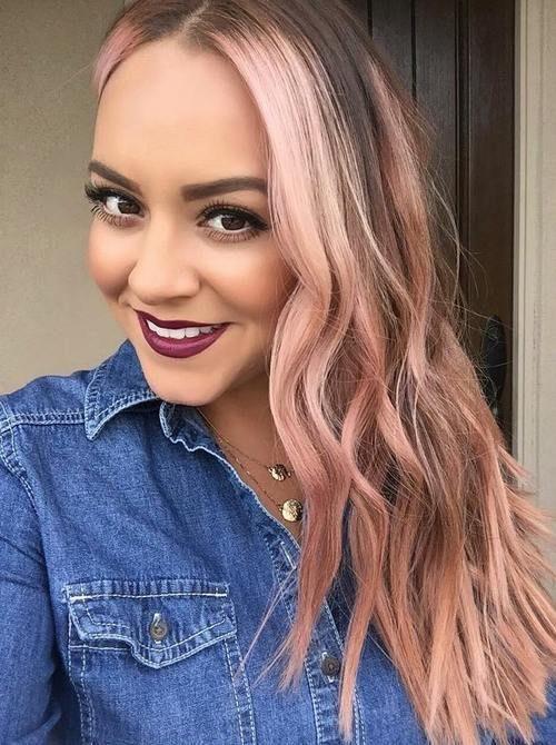 subtle pink hair highlights
