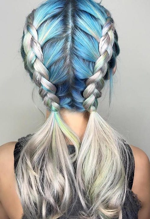 Blue grey box braids