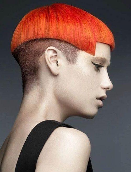 bright orange bowl cut for women 2022