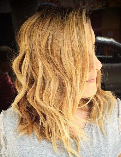 peach blonde medium length wavy hair