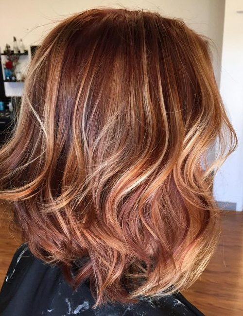 rose gold with caramel highlights