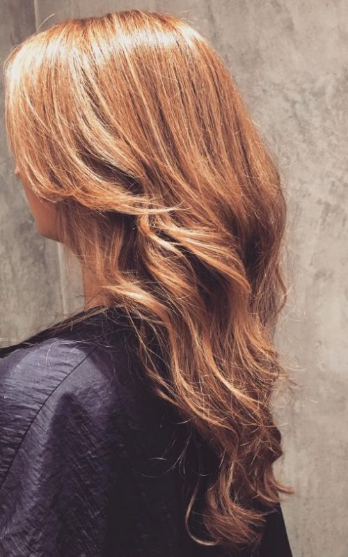 Glossy Golden Brown Hair