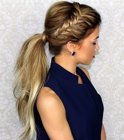 Ponytail with Fishtail Braid