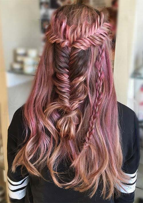 Rosy Fishtail Braid