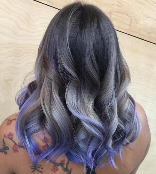 Purple Grey Balayage