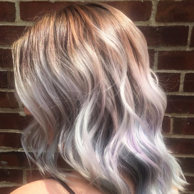 Silver Blonde Hair with Purple Highlights