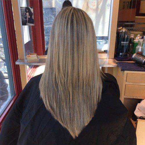 Sleek Dark Blonde V Cut