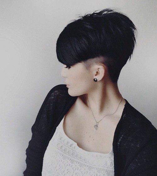 V Cut with Shaved Sides for Brunettes