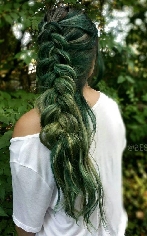 Black-Green Balayage Hair