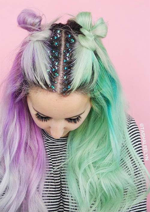 Double Buns and Glitter Roots