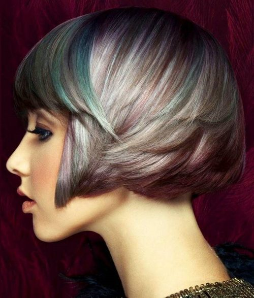 Multicolored Bob Haircut