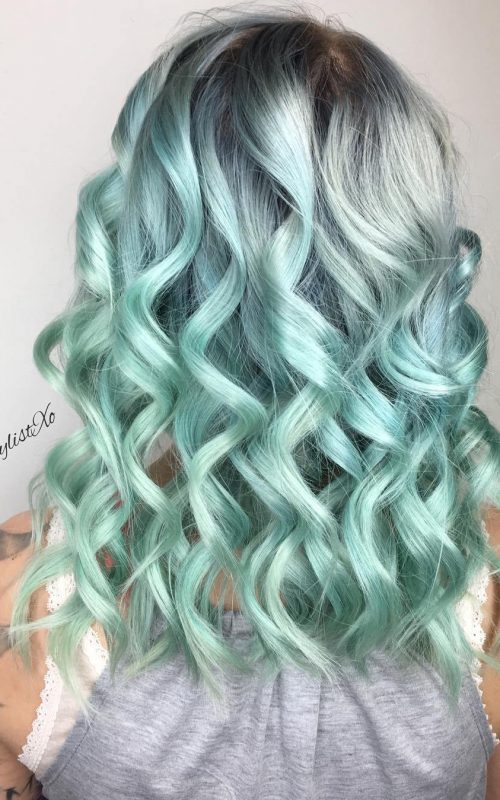 Icy Green Hair with Dark Roots