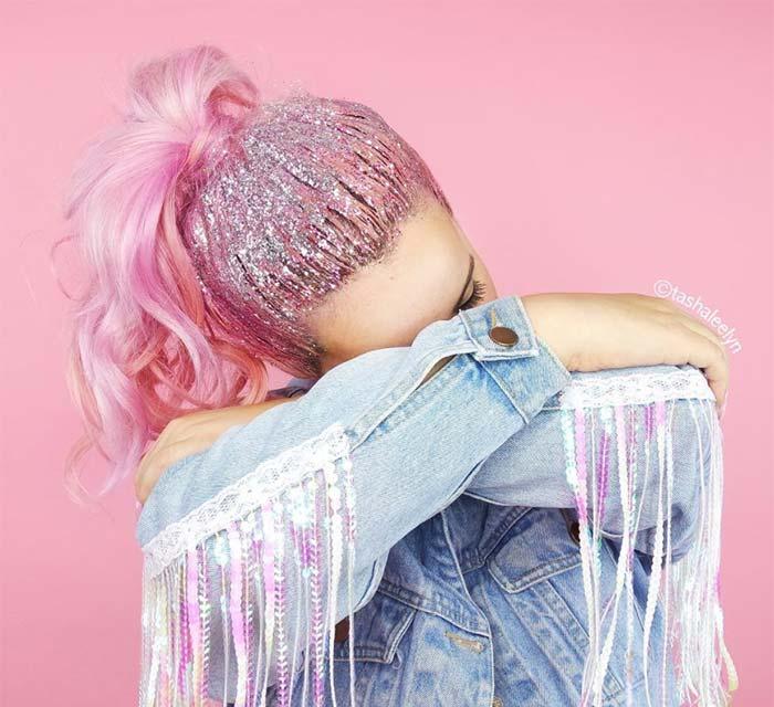 Candy Pink Glitter Hair