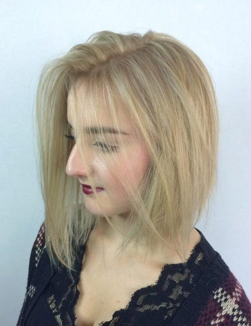 Asymmetric Platinum Blonde Hair