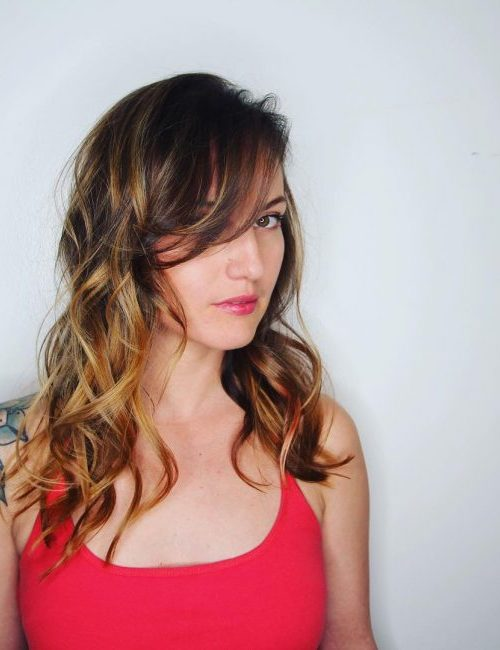 Side Swept Bangs with Beach Waves
