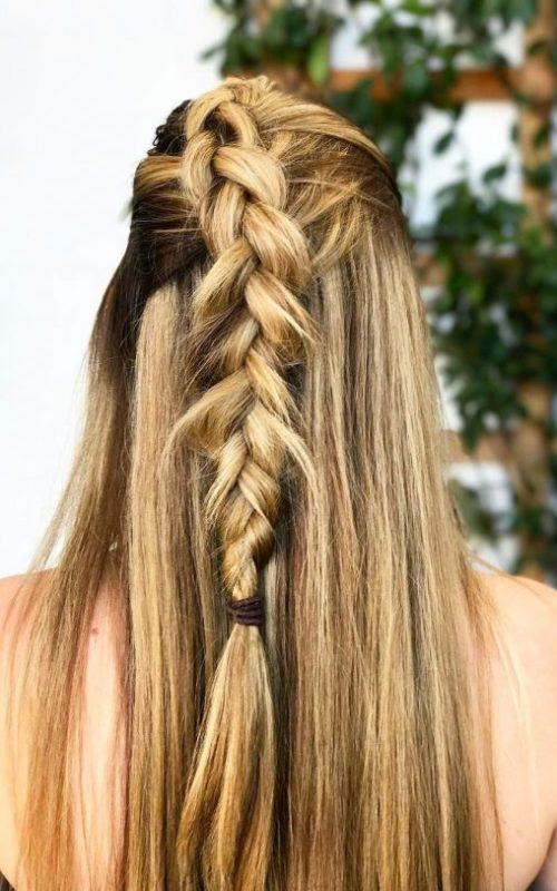 half up half down braided hairstyle