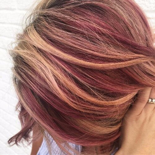 Dirty Blonde and Red Highlights